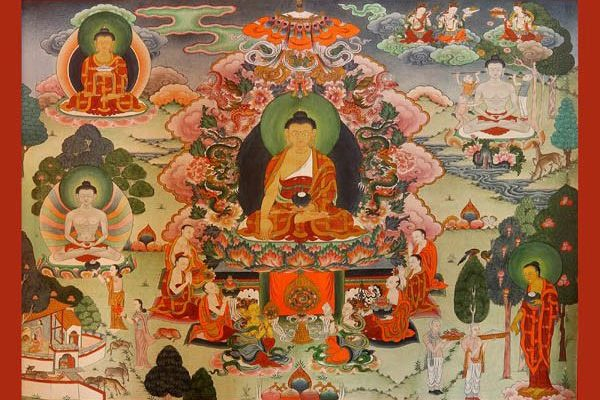 Peintures murales du temple : la vie du Bouddha
